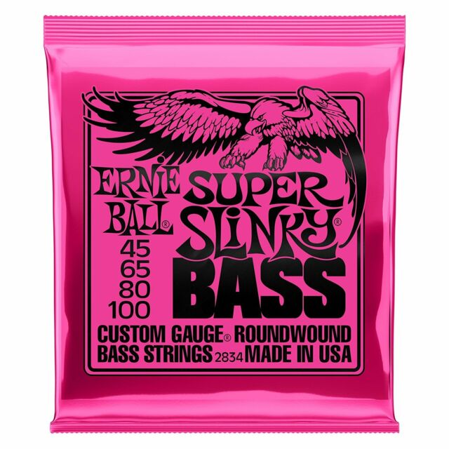 Ernie Ball Super Slinky Electric Nickel Wound Bass Guitar Strings 45-100 - 2834