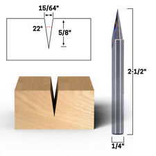22 Zero Point V Groove Engraving Carbide Router Bit 14 Shank Yonico 14106q