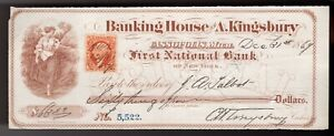 Bank Check,  1869 obsolete note from Banking House of A. Kingsbury  (NICE) ***