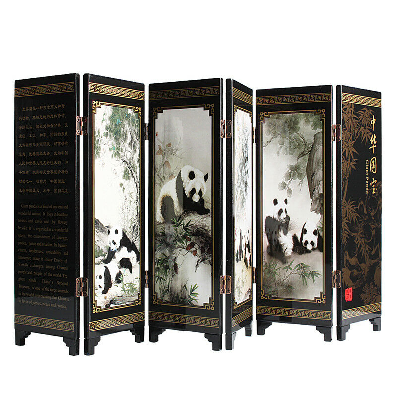 Small Wooden Folding Screen Table Dividers Chinese Traditional Table