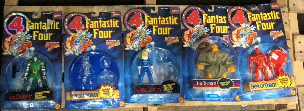 MARVEL COMICS FANTASTIC FOUR ACTION FIGURE LOT (5) The Thing Invisible Woman NIB