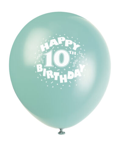 """Happy 10th Birthday Balloons 12/"""" 6 per pack balloons various colours 10th bday"""