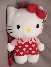 """Hello Kitty Backpack plush """"14"""" Red with Pink Hearts Officially Licensed NWT"""