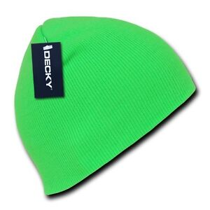 991b589735e Neon Green Knit Short Beanie Hat Skull Snowboard Winter Warm Ski ...