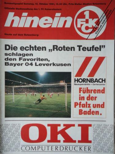 FC Kaiserslautern Karlsruher SC Programm 1991//92 1