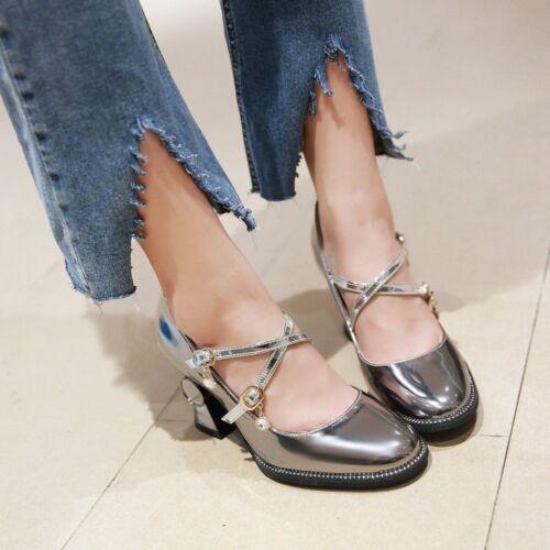 Womens Sweet Mary Jane Cross Buckle Strap Block High Heels Lolita Dress Shoes