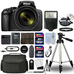 nikon coolpix p900 digital camera 83x optical zoom wi fi black 32gb bundle 742880767405 ebay. Black Bedroom Furniture Sets. Home Design Ideas