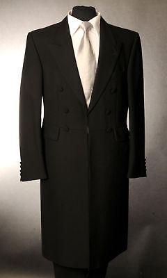 WEDDING FUNERAL DRESS FROCK COAT MENS BLACK FROCKCOAT WOOL HERRINGBONE EX HIRE