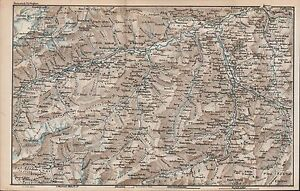 1873 BAEDEKER ANTIQUE MAP SWITZERLAND CHUR INNER FERRERA OLIVONE