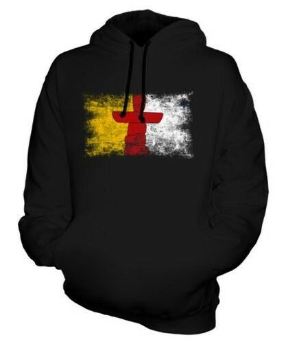NUNAVUT DISTRESSED FLAG UNISEX HOODIE TOP GIFT CLOTHING JERSEY