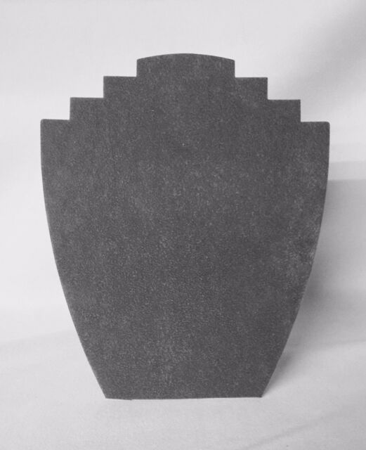 Set of 5 Jewellery Display Card Busts [B] Ash Grey Suede *Made in the UK*