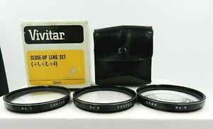 Vivitar-Close-Up-Lens-Set-1-2-4-55mm-w-Leather-Compartment-Case