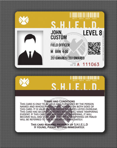 Agents of S.H.I.E.L.D SHIELD Cosplay ID Badge Card FULLY CUSTOMISABLE style 2