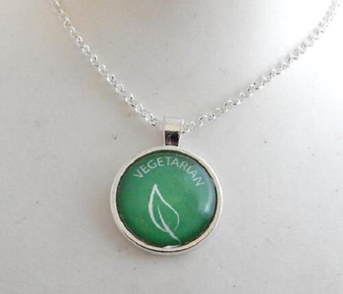 Vegan vegetarian pendant necklace proud plant based powered by plants veggie