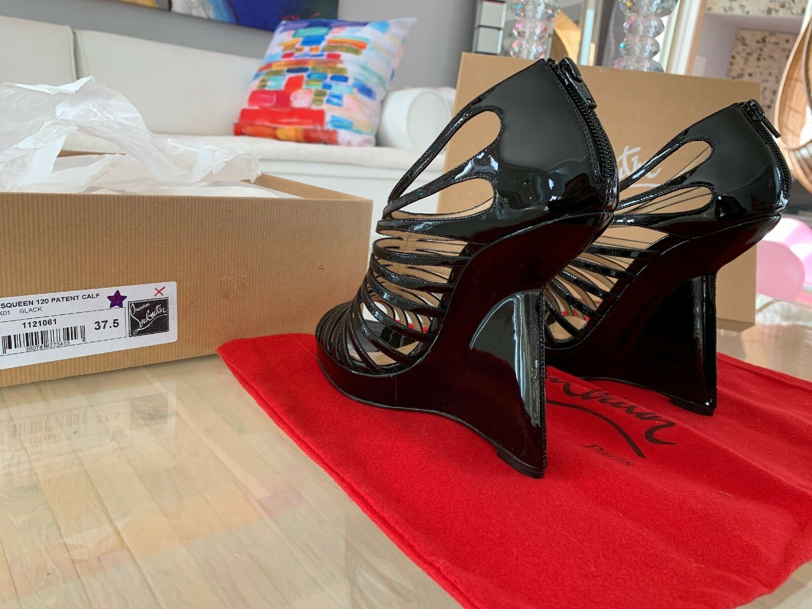 NIB  1195 Christian Louboutin Disqueen 37.5 Platform Wedge Leather Leather Leather Heel shoes 0dd14a