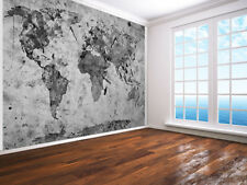 Vintage World Map black and white Retro photo Wallpaper wall mural (19290383)