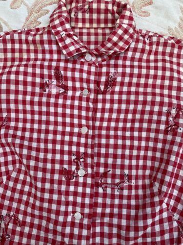 Vintage 1940s Fox Print Novelty Red & White Cotton