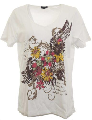 m.i.m T-Shirt V-Neck Nieten Print Tunika Bluse Top Shirt weiß Gr 44//46 696416