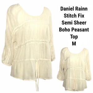 Daniel-Rainn-Sheer-Top-Blouse-Women-Medium-Creme-Peasant-Boho-Crochet-Stitch-Fix