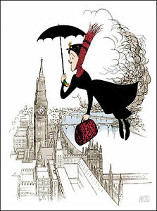 Al-Hirschfeld-039-s-MARY-POPPINS-FLYING-OVER-LONDON-Hand-Signed-Ltd-Ed-Lithograph