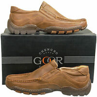 New Mens Brown Leather Lined Slip On Casual Shoes UK Size 6 7 8 9 10 11 12