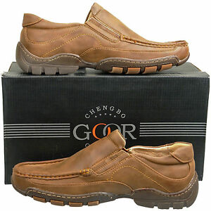 New Mens Brown Leather Lined Slip On Casual Shoes UK Size 6 7 8 9 ...