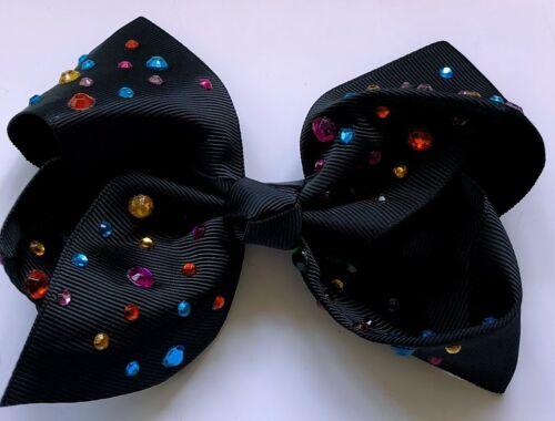 Black Fancy Boutique Girls Hair clip Bows summer trend Multi Colour Rhinestone
