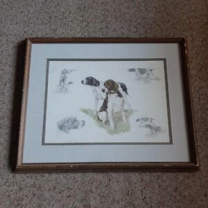 Nigel-Hemming-2-Working-Hunting-Gun-Pointer-Dogs-Framed-Print-VTG-1986-England