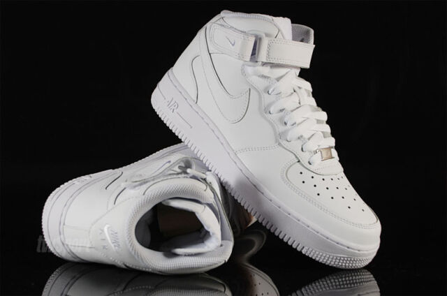 premium selection 4cdff 23bee Nike Air Force 1 GS Boys Girls Kids Junior Mid Top Trainers Shoes - All  White