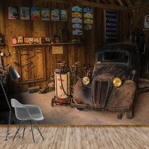 Wall Mural Wallpaper Vintage Car Retro Garage Photo