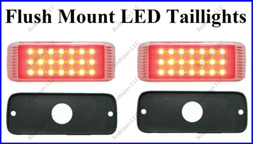 Flat Mount Red LED Taillights Roll Pan Bumper Custom Ford Truck 41FR