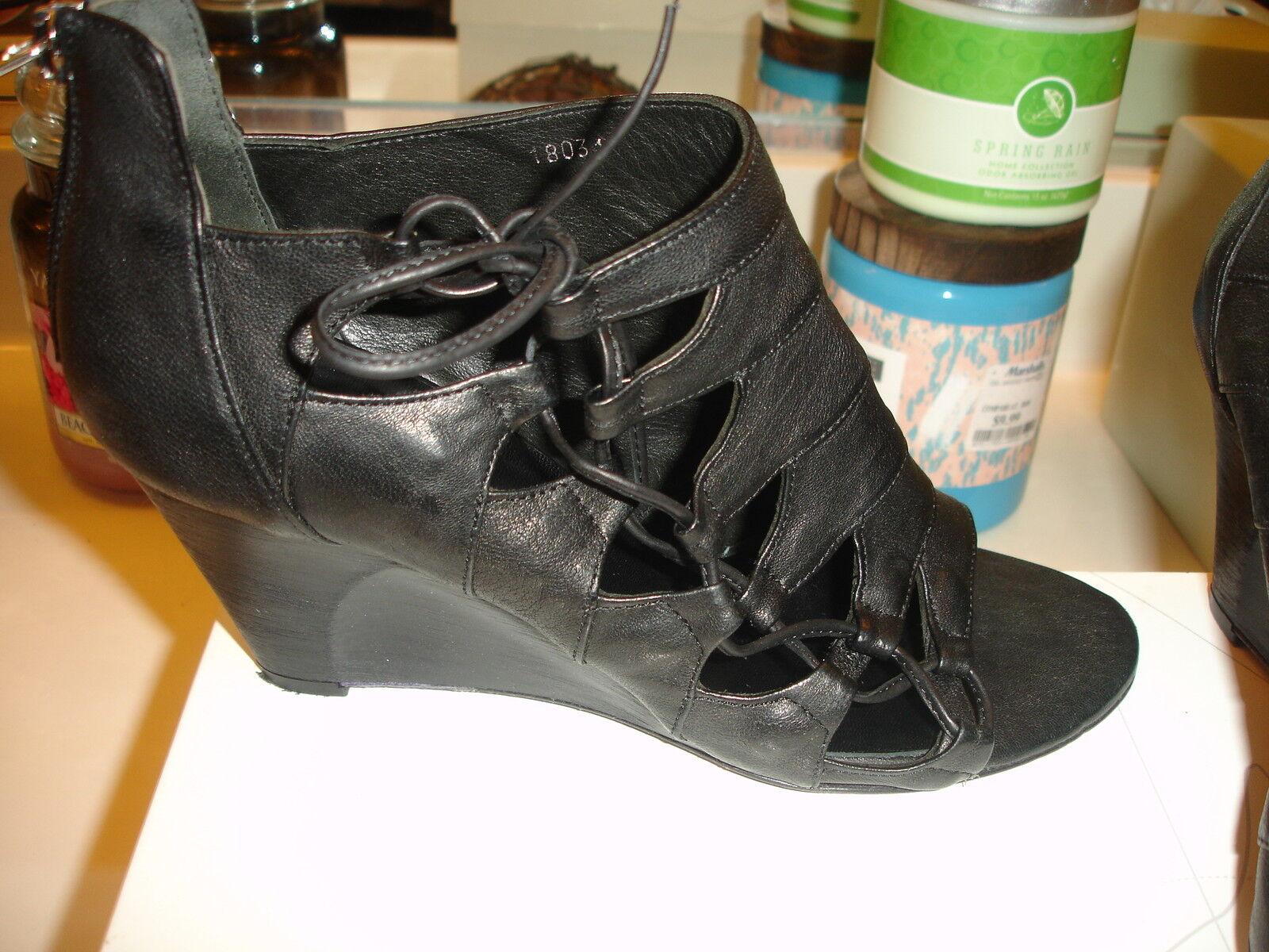 Latitude femme Black Leather Wedge 18031 Deco black 8.5 39 styllish sexy  249