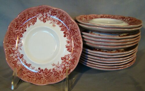 J & G Meakin Romantic England Pink Transfer Anne Hathaway's Cottage Saucers