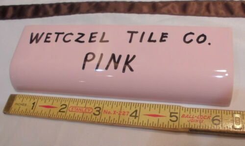1 pc NOS Vintage *Pink* Glossy Ceramic Tile Radius Bullnose by Wenzcel Co
