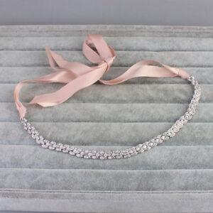 Bridal-Rhinestone-Crystal-Wedding-Hair-Piece-Bridesmaids-Headband-Tiara-amp-Ribbon