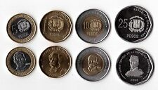 DOMINICAN REPUBLICA - 4 DIF UNC COINS SET: 1 - 25 PESO 2008 YEAR BIMETAL