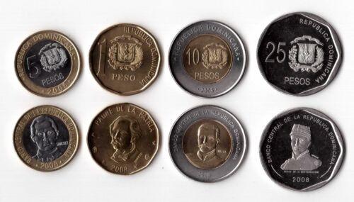 4 DIF UNC COINS SET DOMINICAN REPUBLICA 1-25 PESO 2008 YEAR BIMETAL