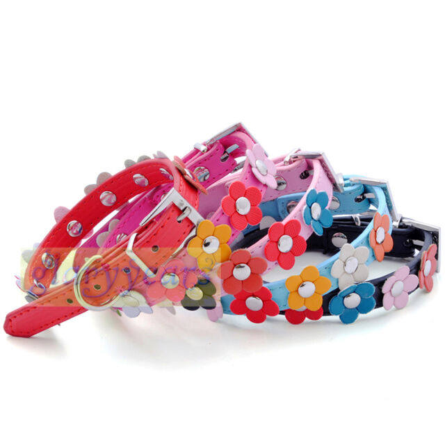 New Arrival Dog Cat 3D Flowers Collars PU Leather Buckle Cute Fashion Chic Love