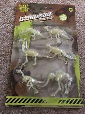6 x Dinosaur Fossil Skeleton Jurassic Park Glow In The Dark Creature Toy Figures