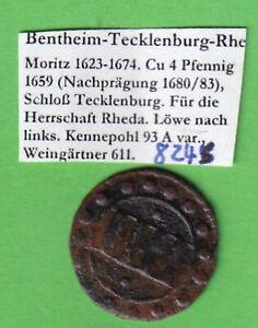 Bentheim-Tecklenburg-Rheda 4 Pfennig 1659 (1680/83) stampsdealer