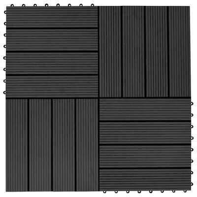 vidaXL 11x Decking Tiles WPC 30 x 30 cm 1sqm Black Patio Paving Flooring Board