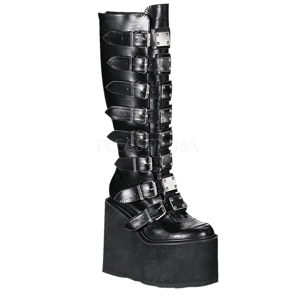 Demonia 5.5  Platform Matte Black Gothic Swing-815 Knee Boots 6 7 8 9 10 11 12