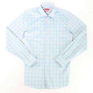 NWT $93 ALFANI Men SLIM-FIT STRETCH BLUE LONG-SLEEVE DRESS SHIRT 16-16.5 32//33 L
