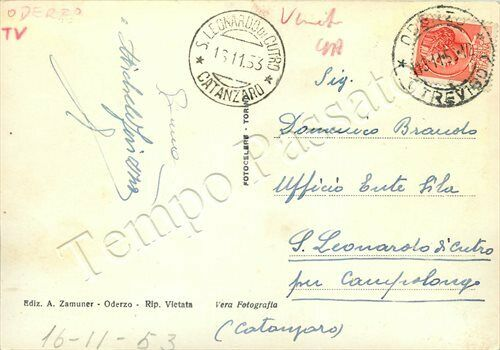 Viaggiata 1953- Oderzo - Colfrancui - Villa Giol (retro)