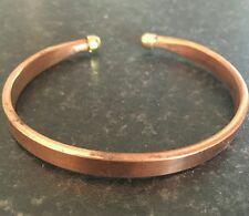 Unisex RAME PURO PIATTO clip su braccialetto polsino regolabile dimensioni indù Kada Kara