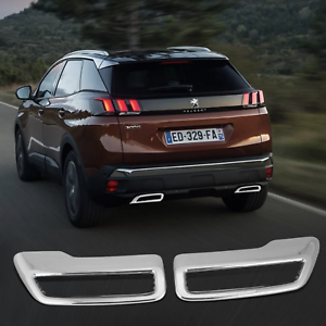 For-Peugeot-5008-3008-3008GT-2017-2019-Rear-Exhaust-Cover-Trim-add-on-Chrome