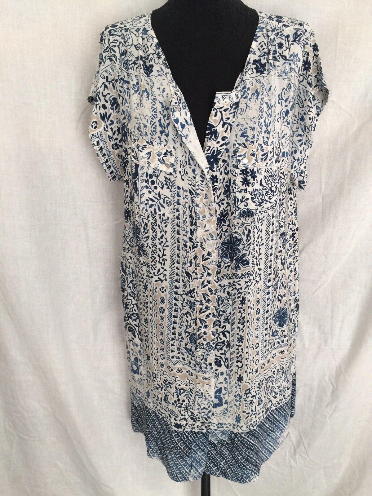 Gerard Darel Silk bluee Print Dress Size Eur 44 (Approx Size 14) Ex Con