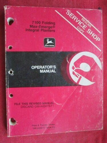 JOHN DEERE 7100 FOLDING MAXEMERGE INTEGRAL PLANTER OPERATOR/'S MANUAL OMA45613 E2