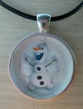 **  OLAF SNOW ANGEL  ** Disney's Frozen. Glass Pendant with Leather Necklace