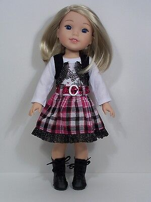"Debs BLACK PINK Butterfly Dress Doll Clothes For AG 14/"" Wellie Wisher Wishers"